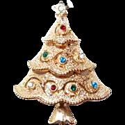 Designer Rhinestone Christmas Tree Pin by JJ
