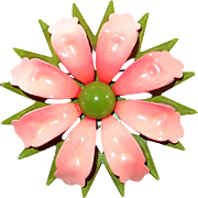 Peachy Pink Enamel Flower Pin with Green Accent