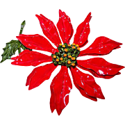 Huge Red Enamel Poinsettia Brooch for the Holidays