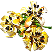 Three Dimensional Enamel Flower Brooch