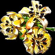 Three Dimensional Enamel Flower Brooch