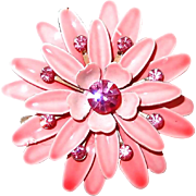 Pink Enamel and Rhinestone Flower Pin