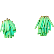 Floppy Green Plastic Cha-Cha Earrings