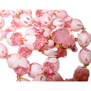 Two Strand Pink Plastic Crystal Flower Bud Beaded Necklace