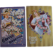 Easter Postcards Lot of 2 Young Ladies Flowers Dogwood Roses Violets 1902