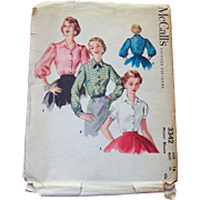 1955 McCalls Sewing Pattern Misses Blouse - 3 in 1 - Buy 2 Get 1 Free