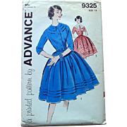 Vintage Advance Sewing Pattern: Dress with Full Skirt Wide Bib Neckine