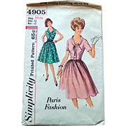 1960s Simplicity Sewing Pattern: Paris Design Dress Scooped Bow Neckline