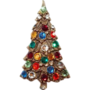 Tall Multicolor Flatback Rhinestone Christmas Tree Brooch
