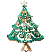 Green Glazed Christmas Tree Pin with Rhinestones