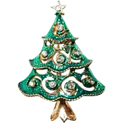 Green Enamel and Rhinestone Xmas Tree Pin