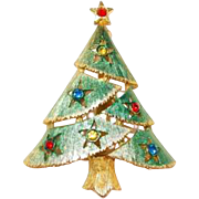 Soft Green Enamel Christmas Tree Pin with Star Motif and Rhinestones
