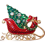 Eisenberg Ice Christmas Sleigh and Tree Pin for the Holidays