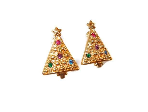 Multi-color Rhinestone Christmas Tree Clip Earrings From