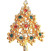 Knobby Christmas Tree Pin Red Green Stones Book Piece