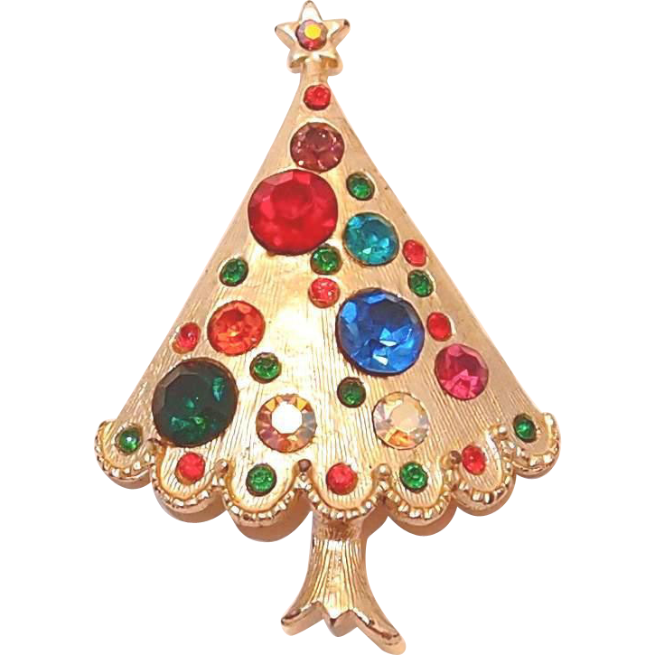 Dual Color Christmas Tree: Large Multi-colored Rhinestone Christmas Tree Pin From