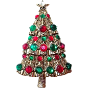 Hollycraft Christmas Tree Pin with Green and Red Cabochons