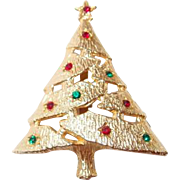 Vintage Rhinestone Christmas Tree Pin for the Holidays