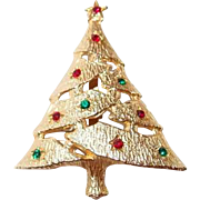Christmas Tree Pin Red Green Rhinestones