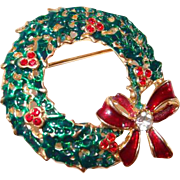Vintage Enamel Holly Berry Christmas Wreath Pin with Red Bow