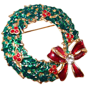 Red Holly Berries Rhinestones Xmas Wreath Pin with Bow