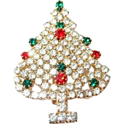 Special Christmas Tree Pin Paved with Rhinestones and Accented with Red and Green Stones