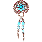 1946 Alfred Philippe Crown Trifari Turquoise Sterling Dangle Brooch