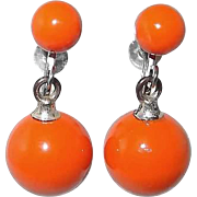 Orange Screw-back Bob Earrings From 1960s
