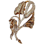 Monster Serpents Tongue Flower by Reja 1941 Rhodium Gold Curled Leafs Paved Rhinestones