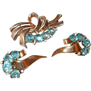 1948 Crown Trifari Blue Crystal Sterling Ribbon Pin and Earring Set