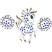 Trifari Precious Pet Horse Pin Earring Set