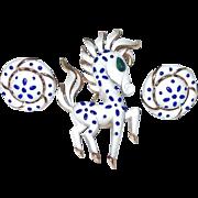 Trifari Precious Pet Horse and Earring Set