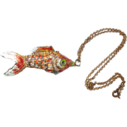Chinese Articulated Enamel Koi Fish Pendant Import 1930s