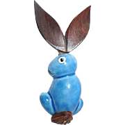 Elzac Bunny Brooch Wooden Ears Articulating Tail Blue Ceramic, Book Piece