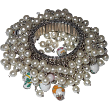 Wild Cha-Cha Bracelet with Faux Pearls and Oriental Glass Beads