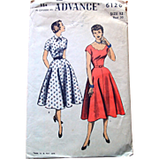 1950s Vintage Advance Sewing Pattern: Dress 2 in 1, Scallop Neckline
