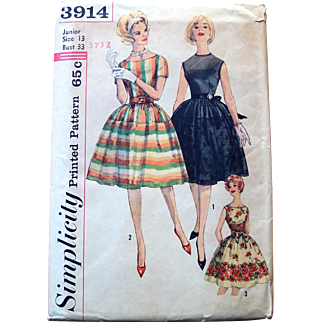 1960s Simplicity Sewing Pattern: Party Dress