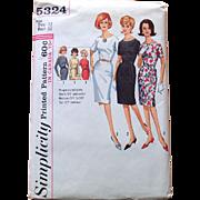 1960s Simplicity Sewing Pattern: Slimming Dress in 2 Sleeves
