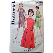 1950s Butterick Sewing Pattern: Two Part Dress