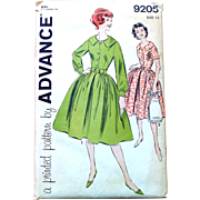 Vintage Advance Sewing Pattern: Dress Full Skirt Two Sleeve Styles