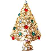 Mylu Snowflake and Rhinestone Christmas Tree Brooch