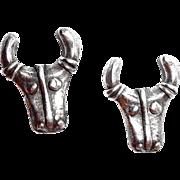 Silver-tone Steer Bull Cowboy Earrings
