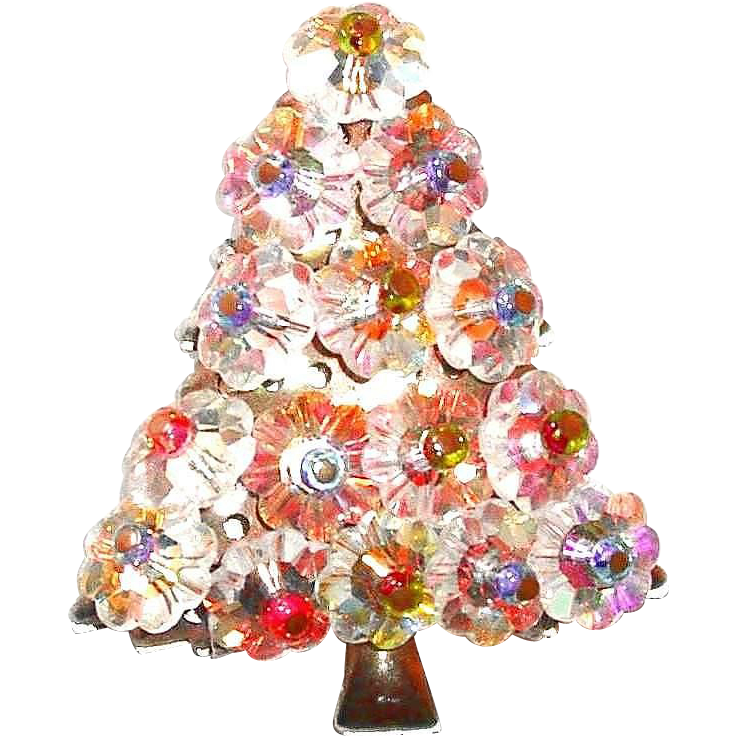 Floret glass crystal christmas tree pin from