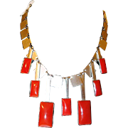 Art Deco Square Chrome and Red Dangle Space Age Industrial Necklace