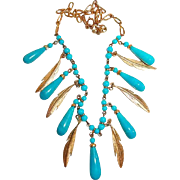 Turquoise Glass Droplet Bead Necklace with Etched Feather Dangles
