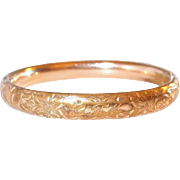 A and Z Gold Shell Etched and Monogrammed Bangle