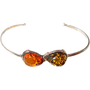 Natural Golden and Green Amber Thin Cuff Bracelet