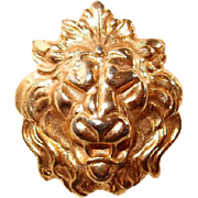 Roaring Lion Face Brooch Contoured Gold-tone Figural