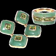 14k Gold Jade and Peridot Ring and Drop Post Earrings