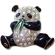 Panda Bear Brooch Eating Bamboo, Covered with Black Enamel and Rhinestones
